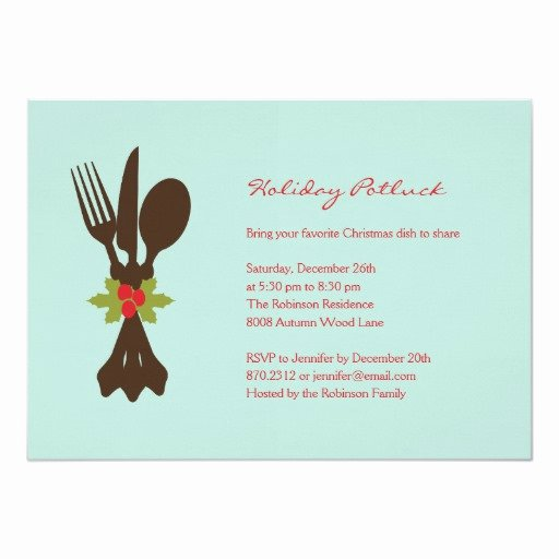 Christmas Potluck Invitation Wording Luxury Festive Cutlery Holiday Party Invitation