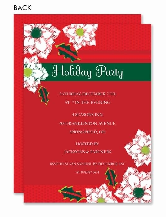 Christmas Potluck Invitation Wording Luxury Pointsetta Christmas Invitations by Exquisite Papers