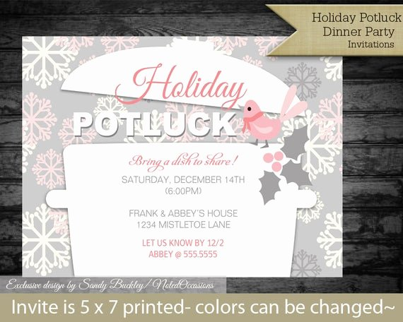 Christmas Potluck Invitation Wording New Items Similar to Printable Holiday Potluck Dinner Party