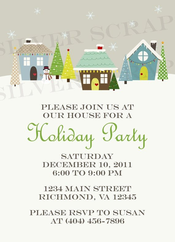 Christmas Potluck Invitation Wording Unique Items Similar to Custom Holiday Houses Christmas Party