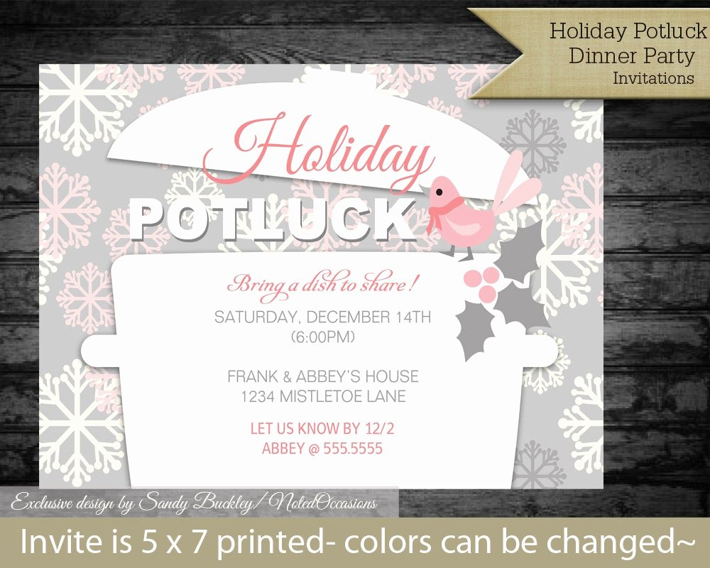 Christmas Potluck Invitation Wording Unique Printable Holiday Potluck Dinner Party by Notedoccasions