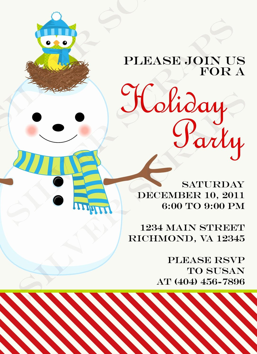 Christmas Potluck Invitation Wording Unique Snowman Christmas Party Invitation Custom by