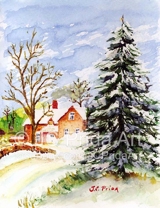 Christmas Scenes to Paint Beautiful Home for Christmas Snowy Winter Watercolor Suziq Creations