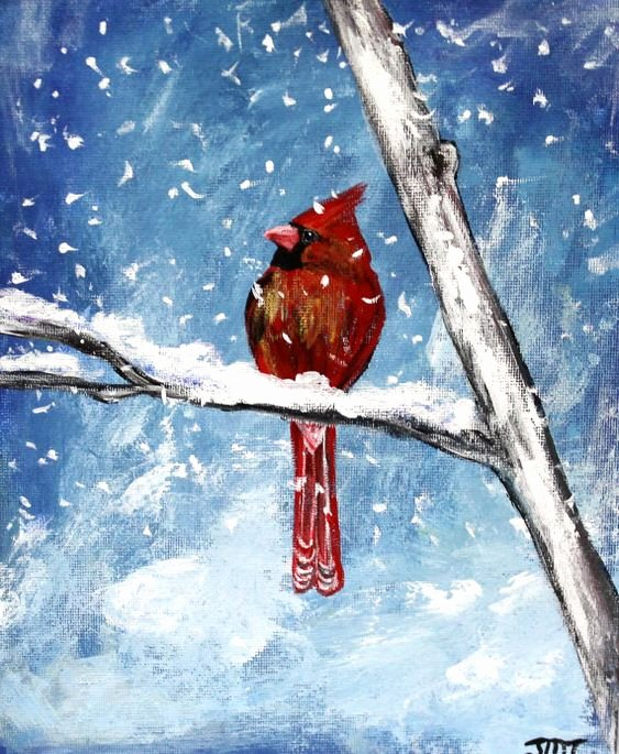 Christmas Scenes to Paint Best Of Canvases Bird Art and Winter On Pinterest