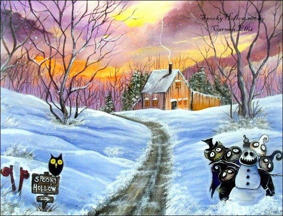 Christmas Scenes to Paint Elegant Christmas Halloween Folk Art Winter Scene Print Of by