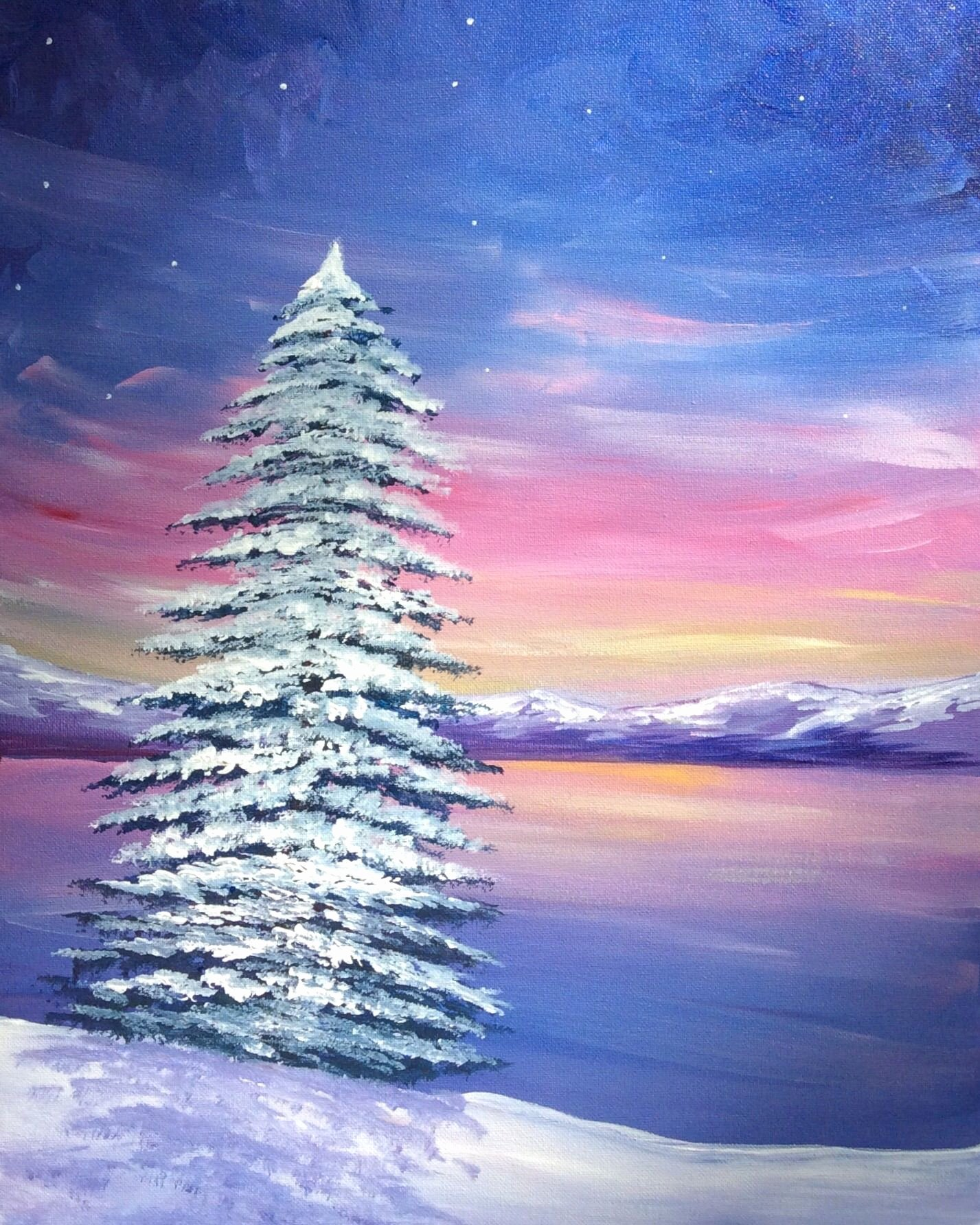 Christmas Scenes to Paint Fresh Paint Nite Winter at the Lake Paint Nite