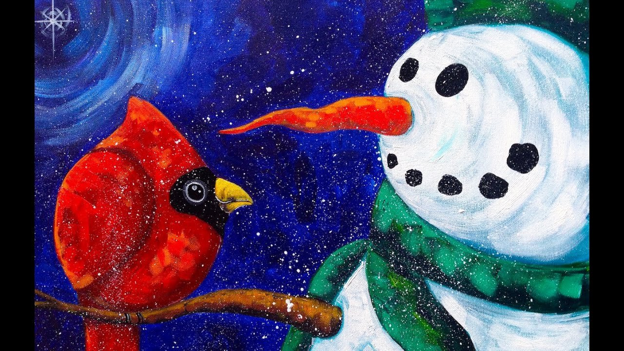 Christmas Scenes to Paint Inspirational Beginners Acrylic Painting Snowman with Cardinal