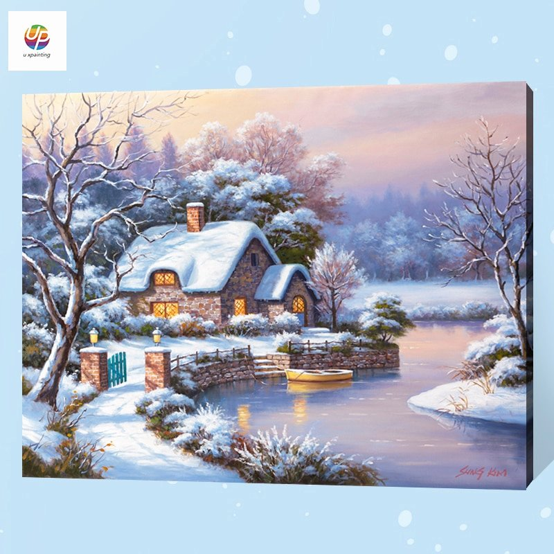 Christmas Scenes to Paint Inspirational Frameless Digital Painting by Number Christmas Scene Snow