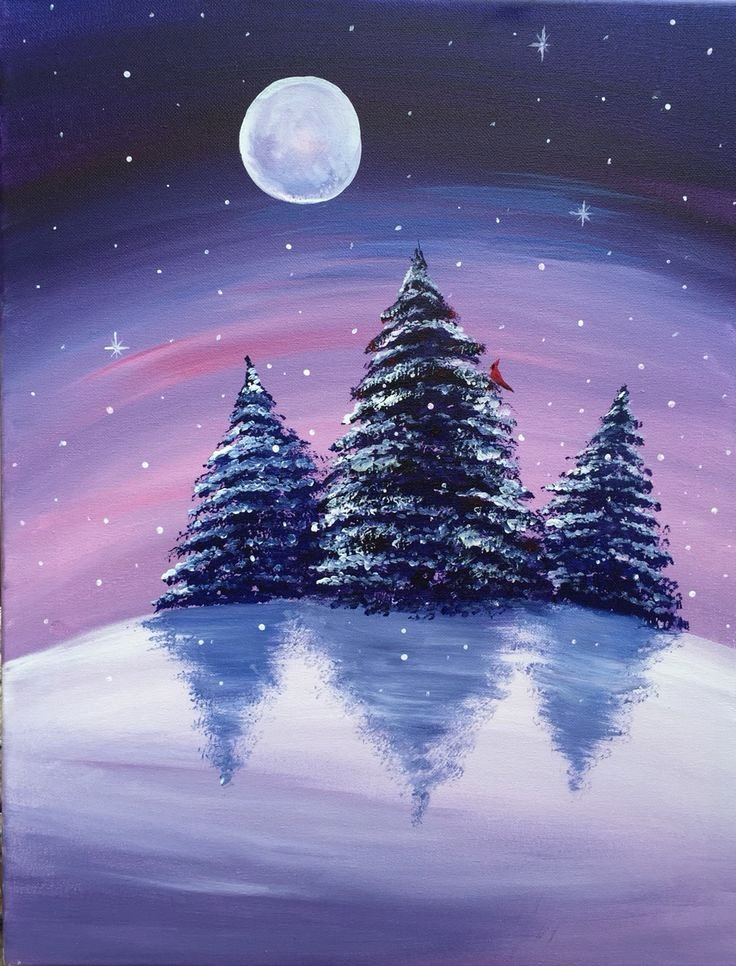 Christmas Scenes to Paint New A Winter S Night Paint Nite Paintings Paid