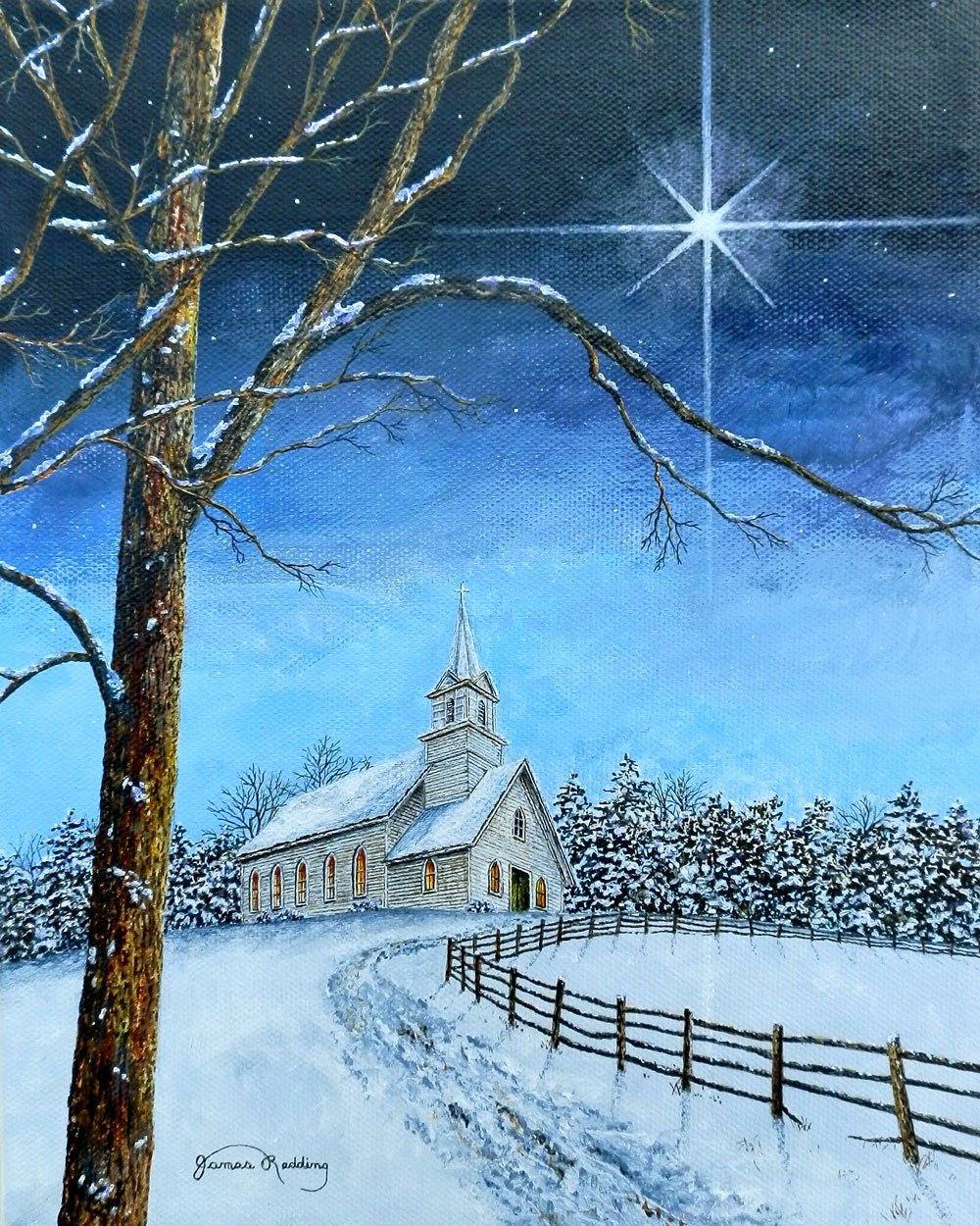 Christmas Scenes to Paint Unique Star Painting Christmas Painting Church Painting Winter