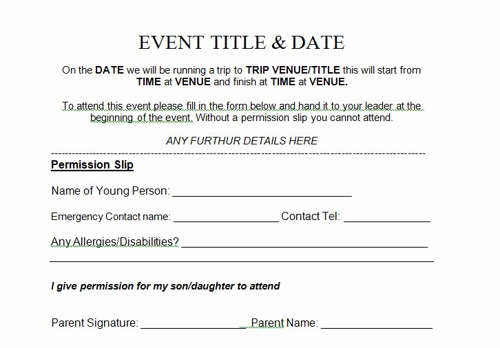 Church Field Trip Permission Slip Best Of 35 Permission Slip Templates & Field Trip forms Free