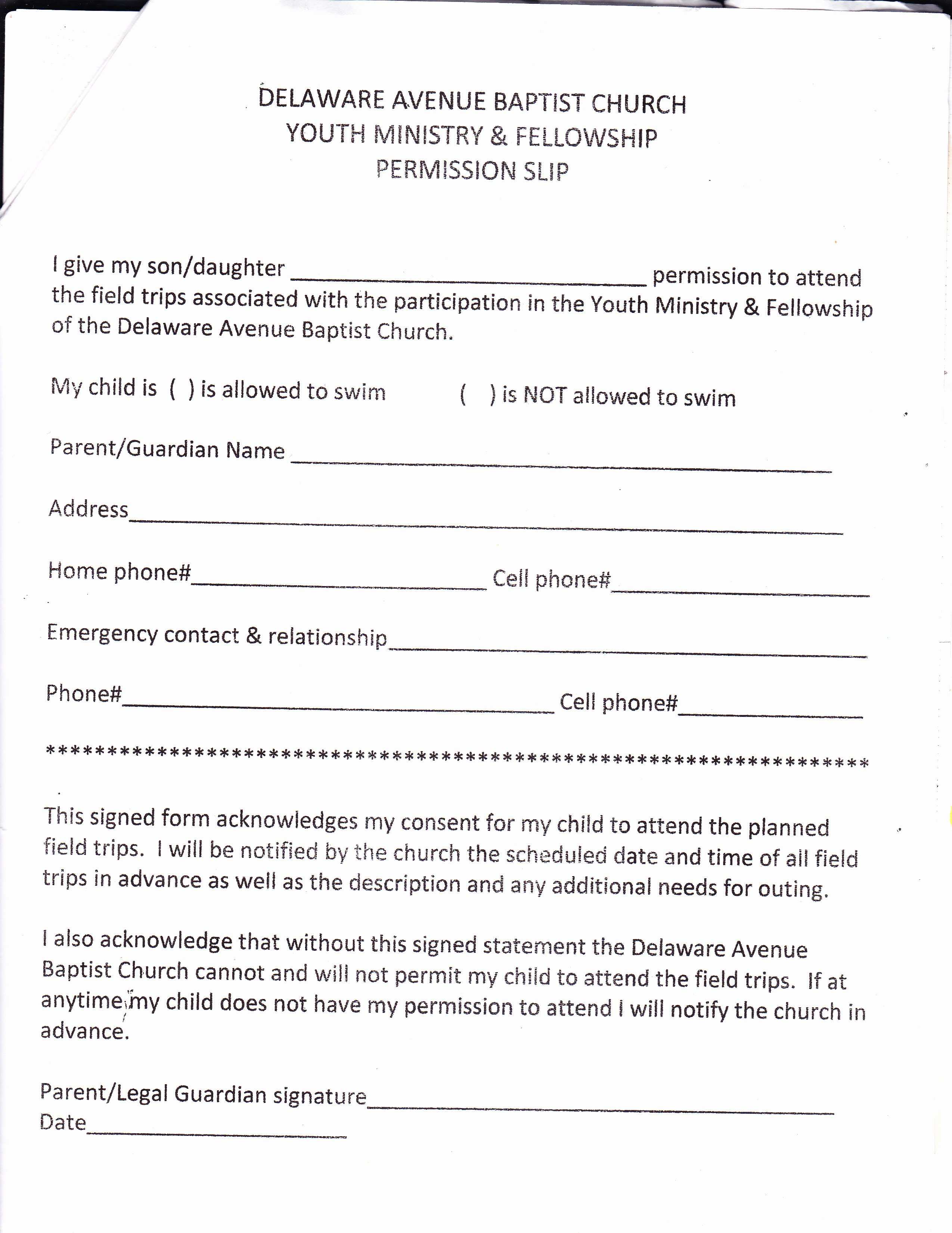 Church Field Trip Permission Slip Luxury Youth Ministry – Delaware Avenue Baptist Church
