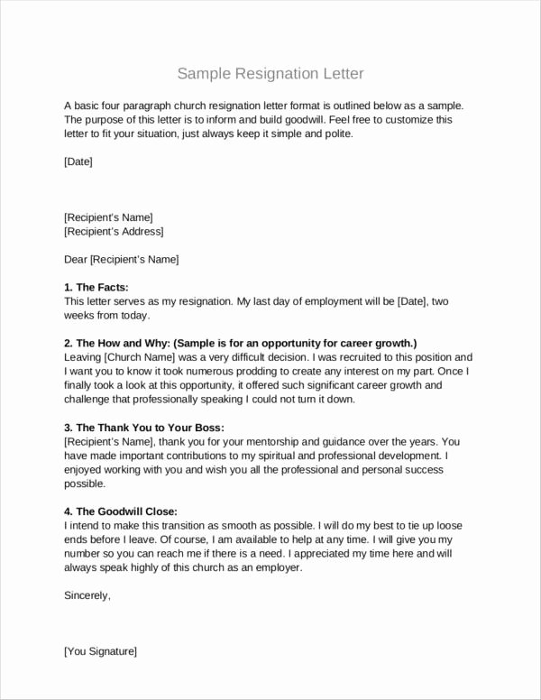 Church Resignation Letter for Pastors Awesome Free 10 Church Resignation Letter Samples and Templates