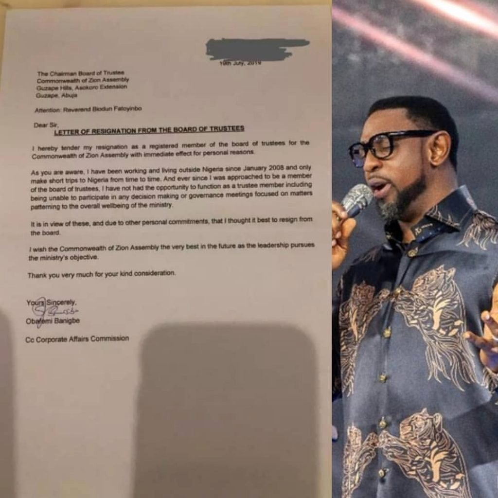 Church Resignation Letter for Pastors Best Of Pastor Obafemi Banigbe Resigns as A Coza Board Trustees