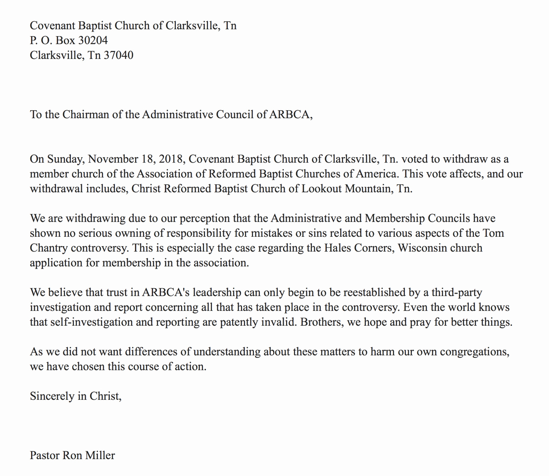 three more churches resign from arbca