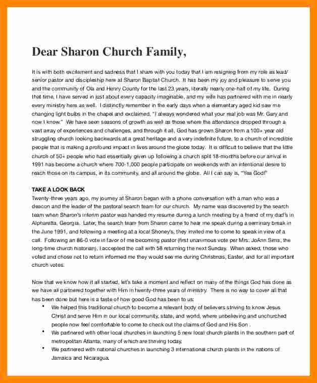 Church Resignation Letter for Pastors Fresh 9 Pastor Letter Of Resignation Sample