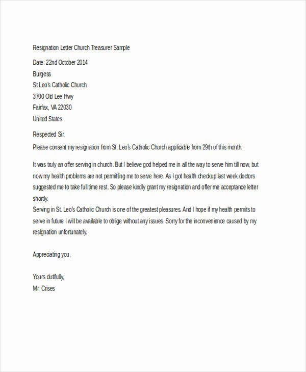 Church Resignation Letter for Pastors Inspirational 29 Of Church Resignation Letter Template