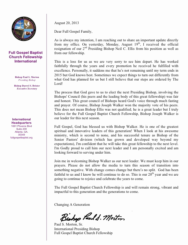 Church Resignation Letter for Pastors Inspirational Bishop Paul S Morton Writes Letter Addressing Resignation