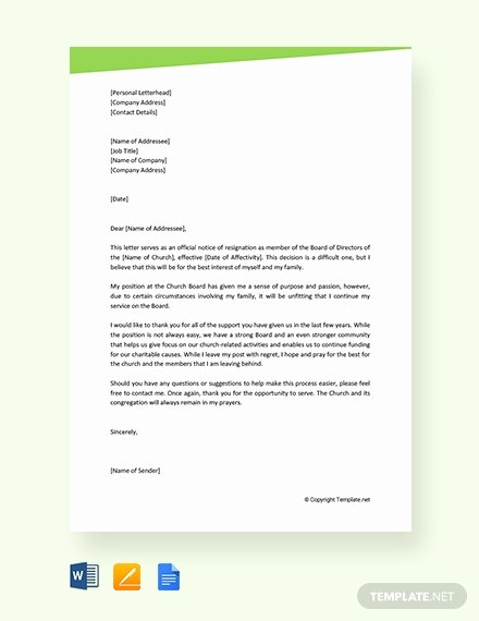 Church Resignation Letter for Pastors Inspirational Free Munity Service Letter From Church Template