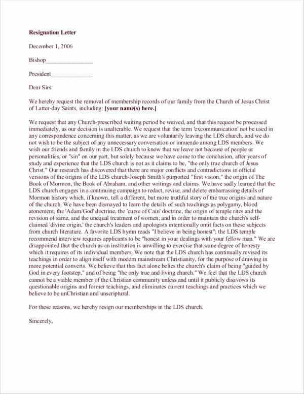 Church Resignation Letter for Pastors Lovely Free 10 Church Resignation Letter Samples and Templates
