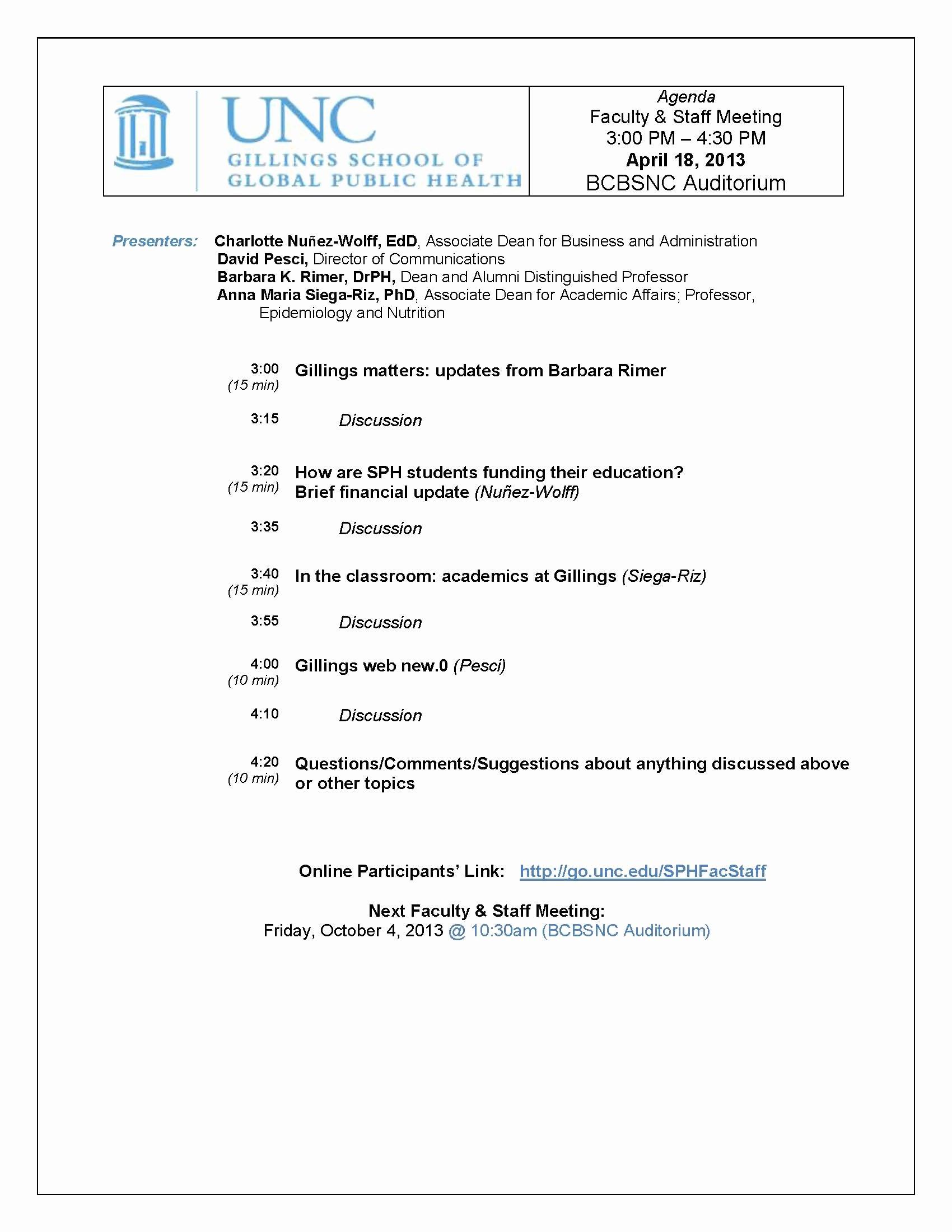 Church Staff Meeting Agenda Elegant Faculty Staff Meetings Archives • Unc Gillings School Of