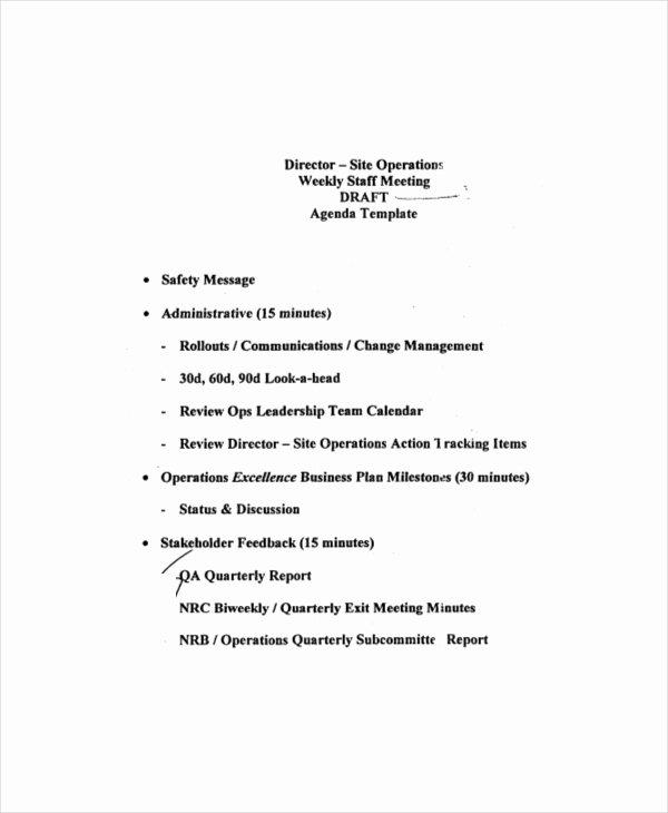Church Staff Meeting Agenda Luxury Weekly Meeting Agenda Template – 10 Free Word Pdf