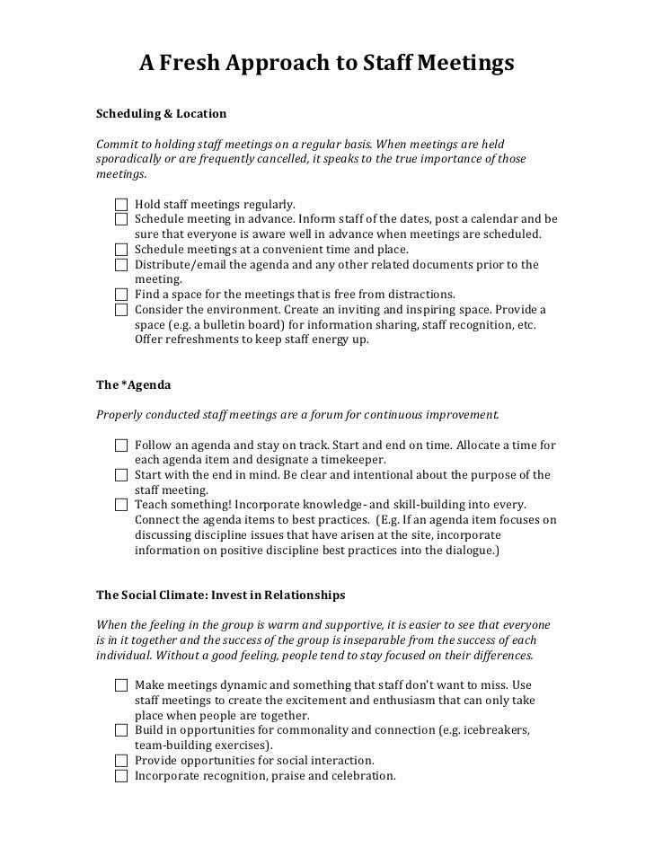 Church Staff Meeting Agenda New A Fresh Approach to Staff Meetings Handout 2