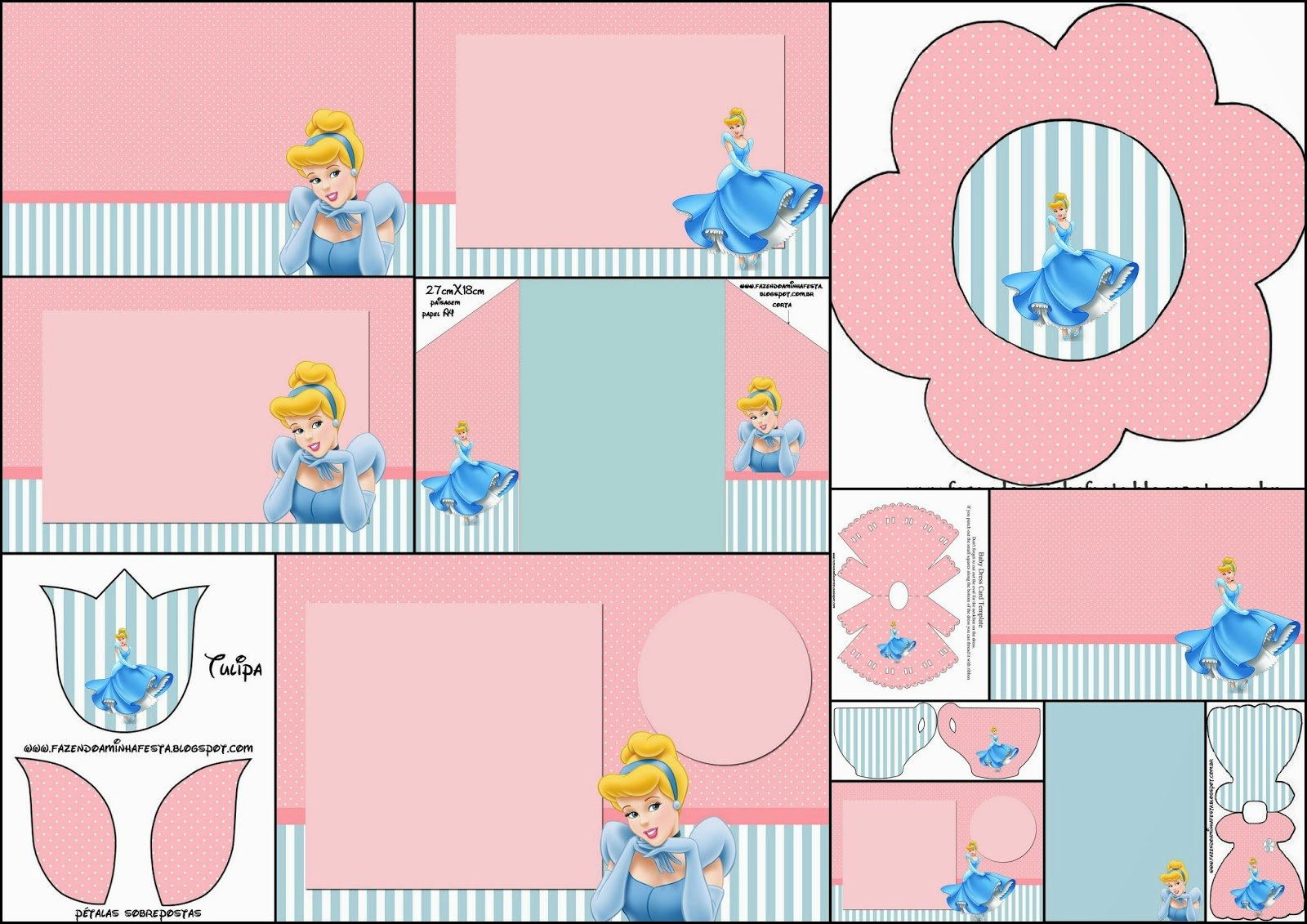 Cinderella Invitation Template Free Awesome Cinderella In Pink and Light Blue Free Printable