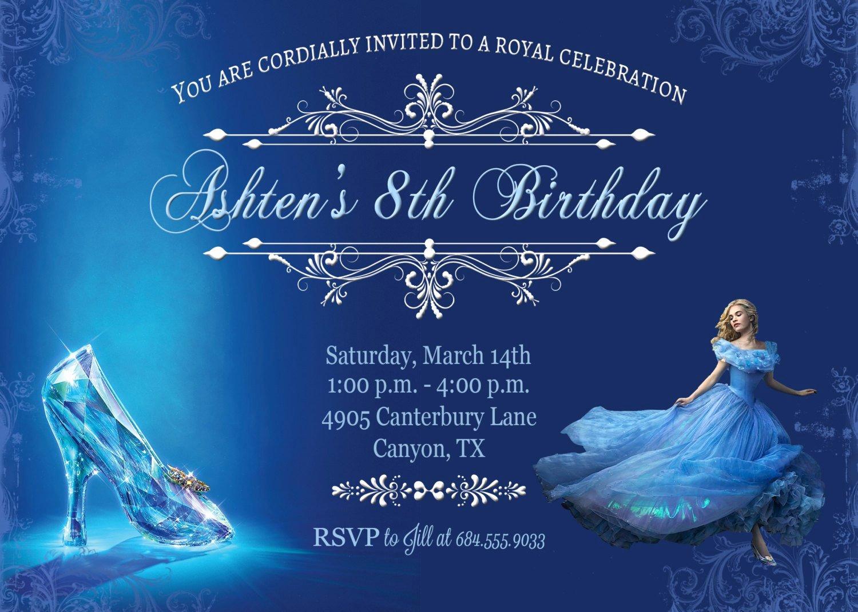 Cinderella Invitation Template Free Elegant Cinderella Birthday Invitations