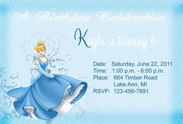 Cinderella Invitation Template Free Elegant Free 7th Birthday Invitation Templates