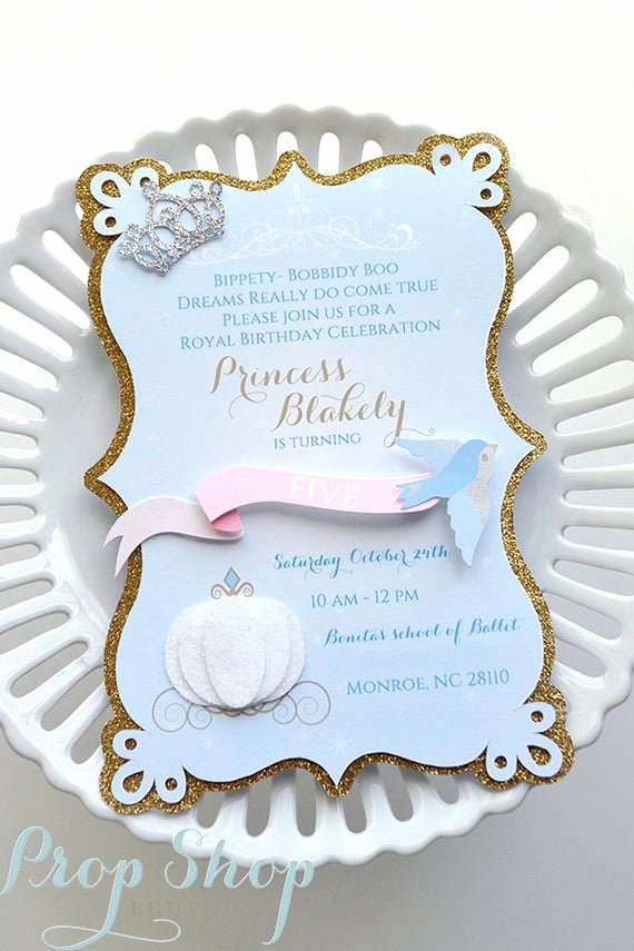 Cinderella Invitation Template Free Luxury Girl S Cinderella Birthday Invitations