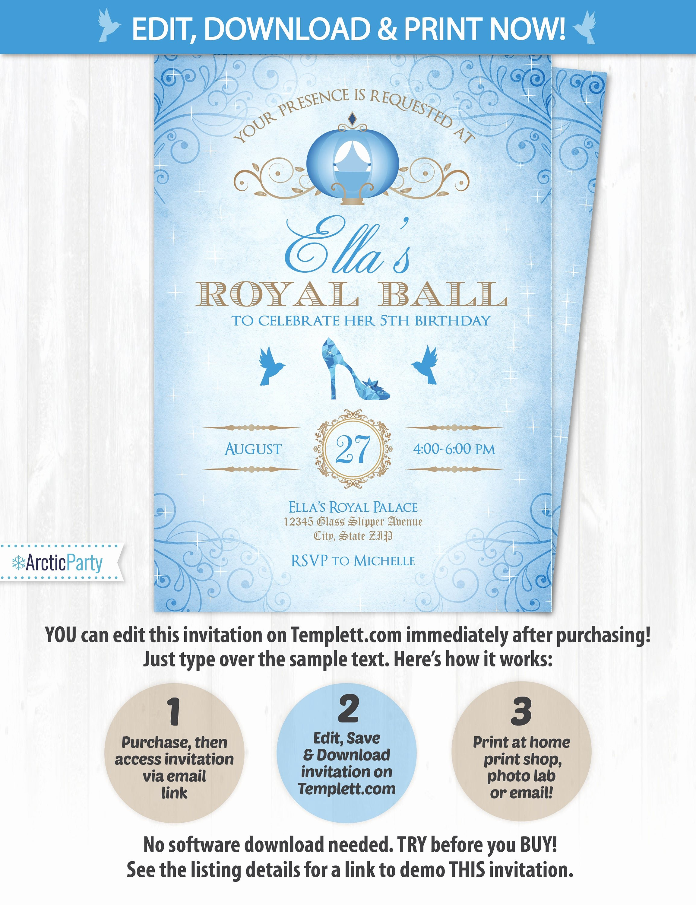 Cinderella Invitation to the Ball Beautiful Cinderella Invitations Cinderella Birthday Invitations