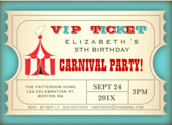 Circus Ticket Invitation Template Free Awesome 27 Carnival Birthday Invitations Free Psd Vector Eps