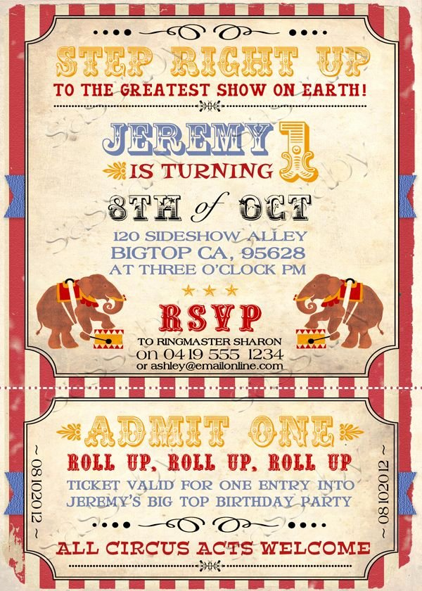Circus Ticket Invitation Template Free Awesome Free Printable Vintage Carnival Invitations