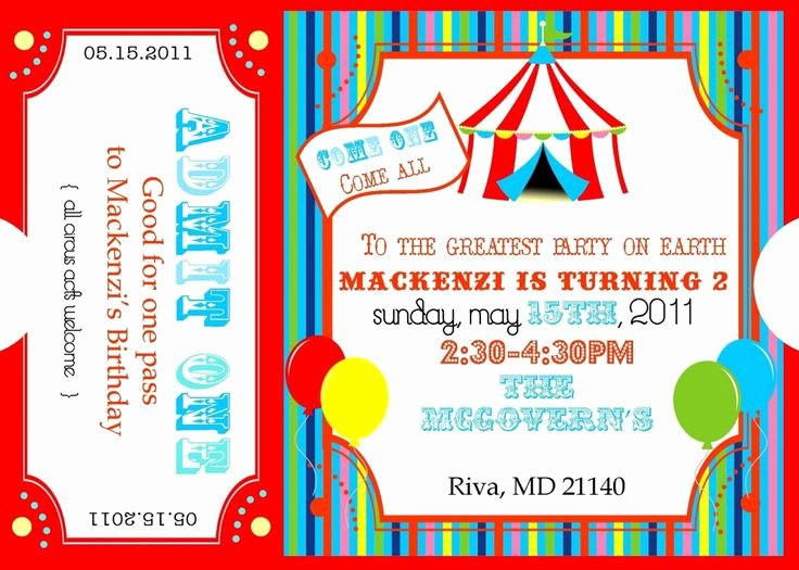 Circus Ticket Invitation Template Free Inspirational Best 25 Carnival Party Invitations Ideas On Pinterest