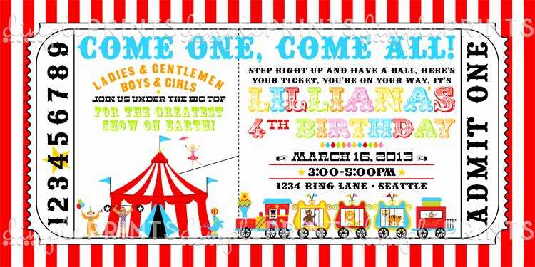 Circus Ticket Invitation Template Free Inspirational Circus Ticket Birthday Party Invite Dimple Prints Shop