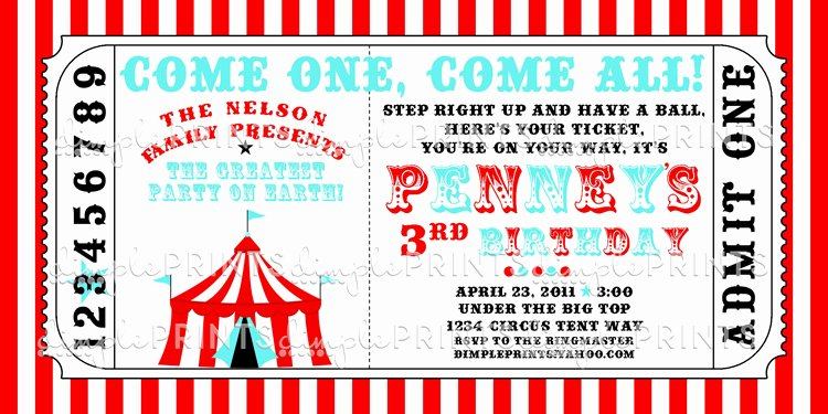 Circus Ticket Invitation Template Free Lovely Circus Tent Ticket Printable Invitation Dimple Prints Shop