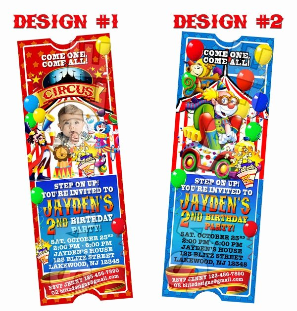 Circus Ticket Invitation Template Free New Circus Carnival Birthday Party Ticket Invitations