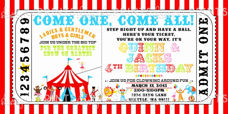 Circus Ticket Invitation Template Free New Vintage Circus Ticket Birthday Invite Dimple Prints Shop