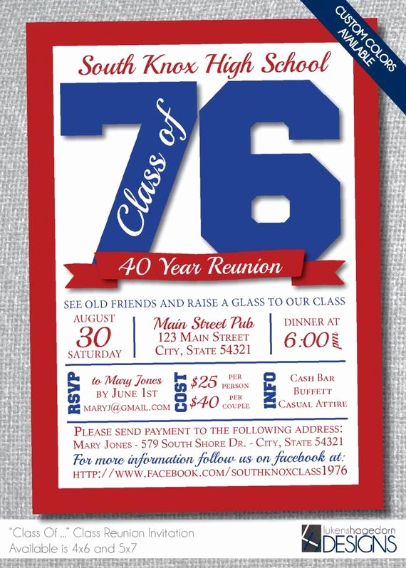 Class Reunion Invitation Template Free Elegant Class Reunion Invitation Custom School by Lukenshagedorndesign