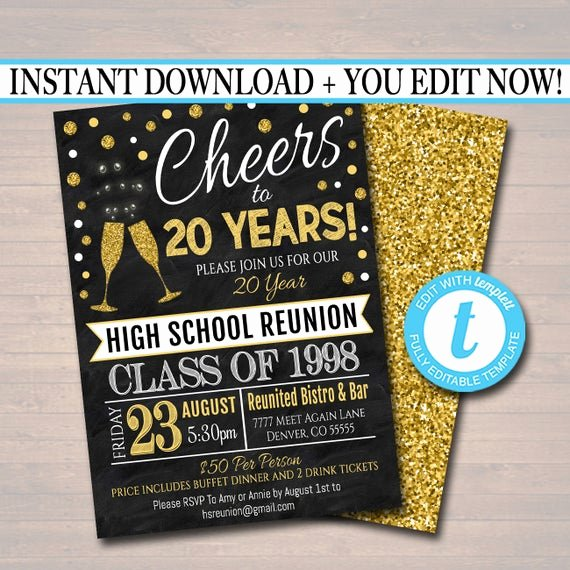 Class Reunion Invitation Template Free Elegant Editable Class Reunion Invitation Template Any Year