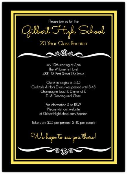 Class Reunion Invitation Template Free Inspirational Black and Yellow Class Reunion Invitation