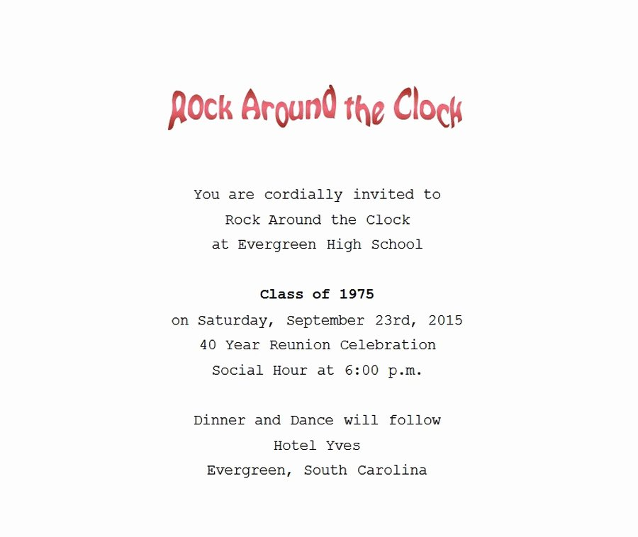 Class Reunion Invitation Template Free New Class Reunion Invitation 1 Wording