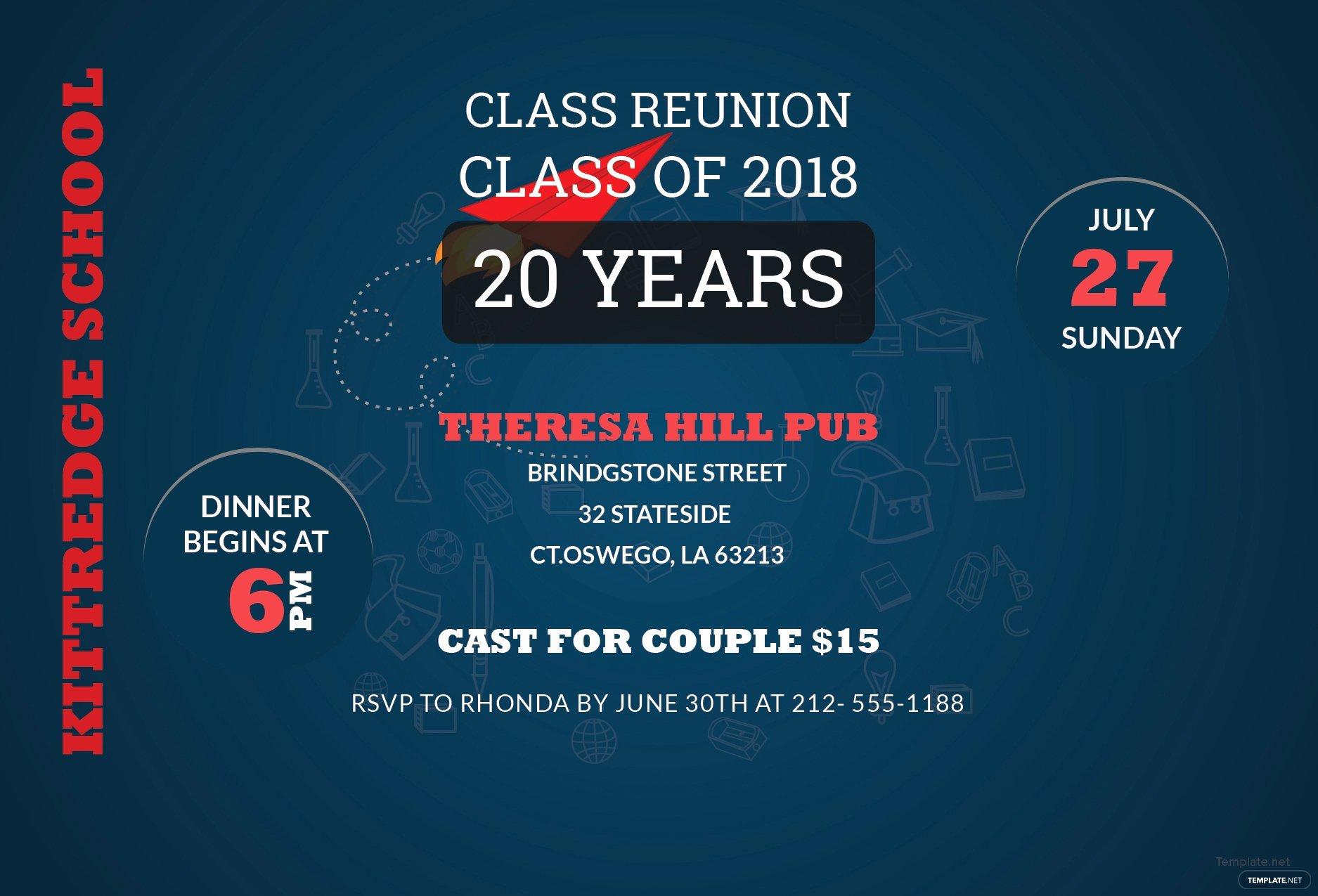 Class Reunion Invitation Template Free New Free Class Reunion Invitation Template In Adobe Shop