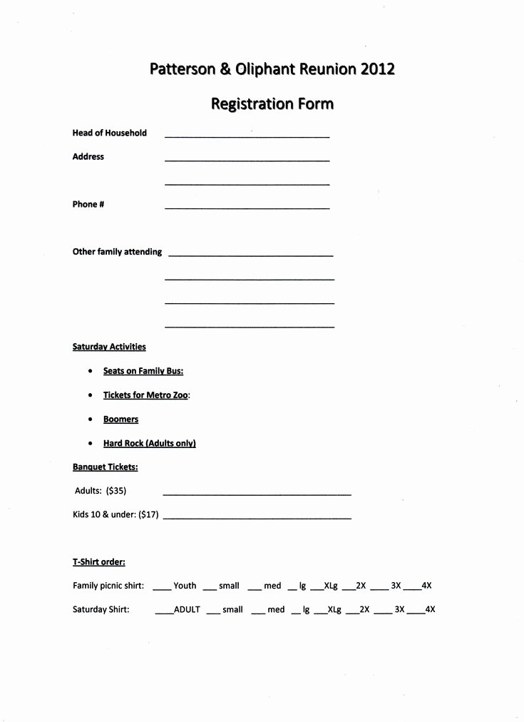 Class Reunion Registration form Template Awesome Printable Example Of Family Reunion Program