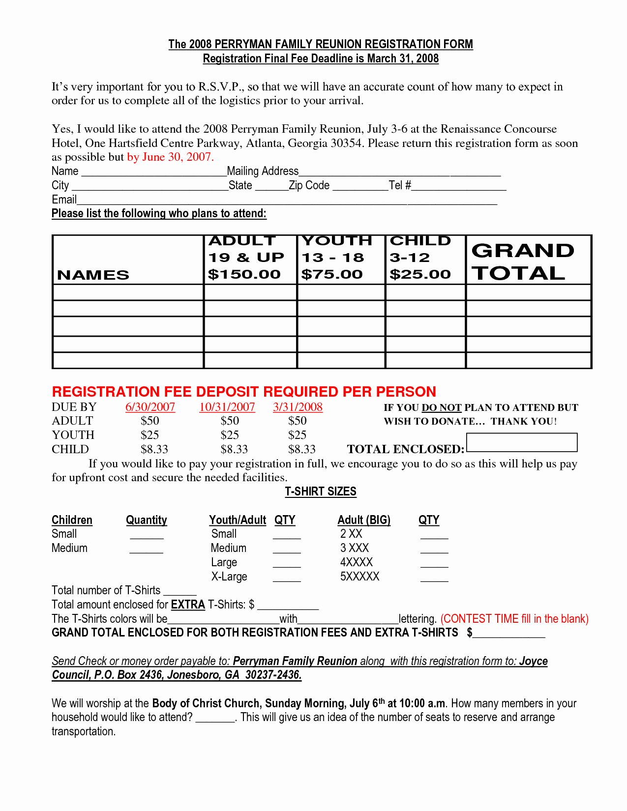 Class Reunion Registration form Template Elegant Family Reunion Registration Packet