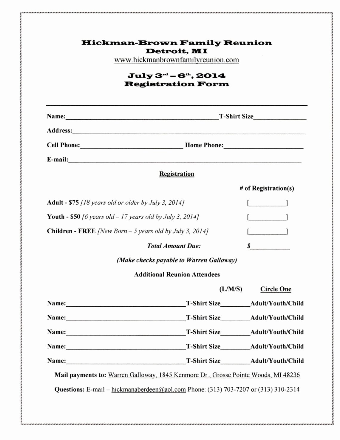 Class Reunion Registration form Template Elegant Pin by Kendra Scott On Gourdin Gourdine Family Reunion