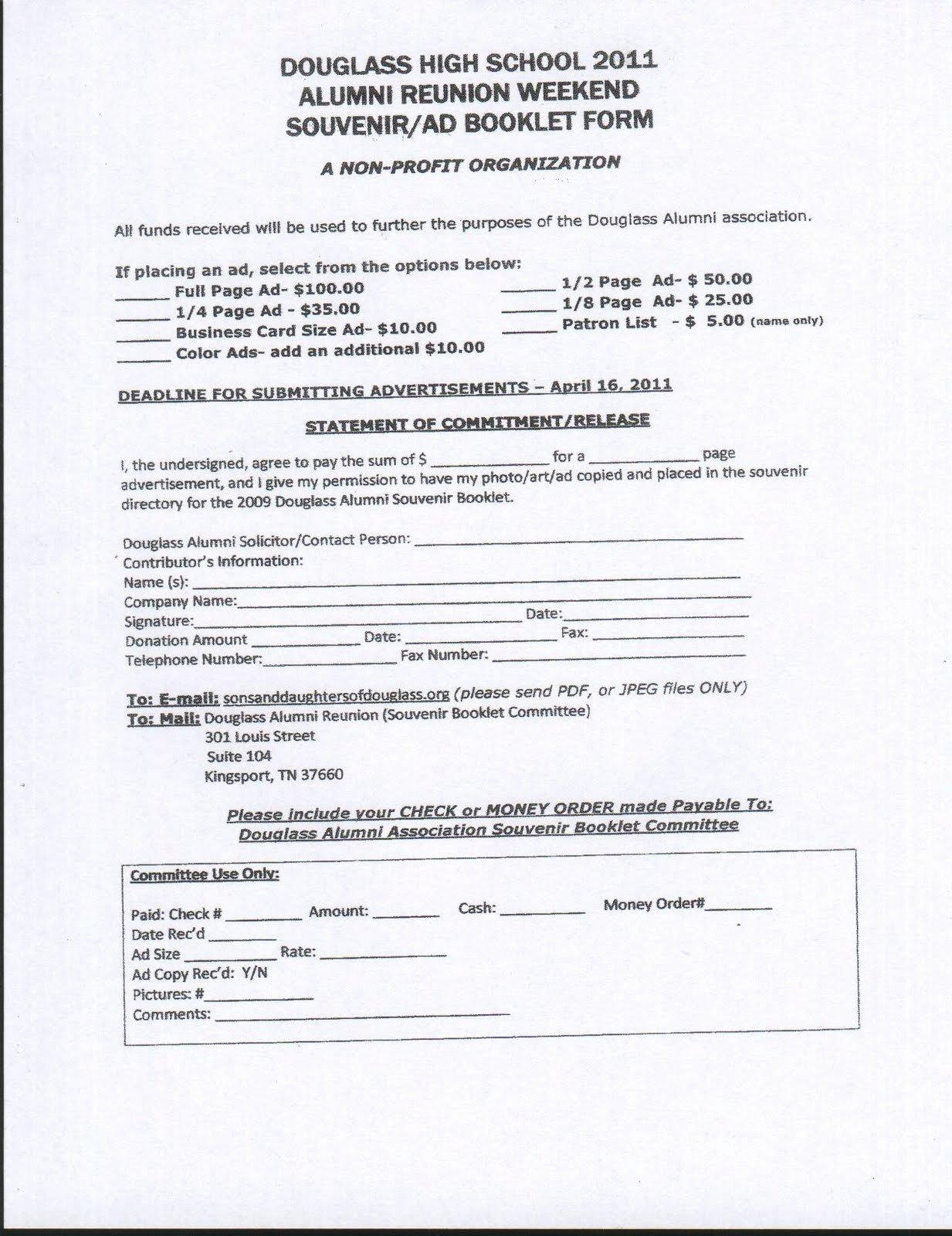 Class Reunion Registration form Template Luxury Douglass School Reunion News 2011 Douglass Reunion