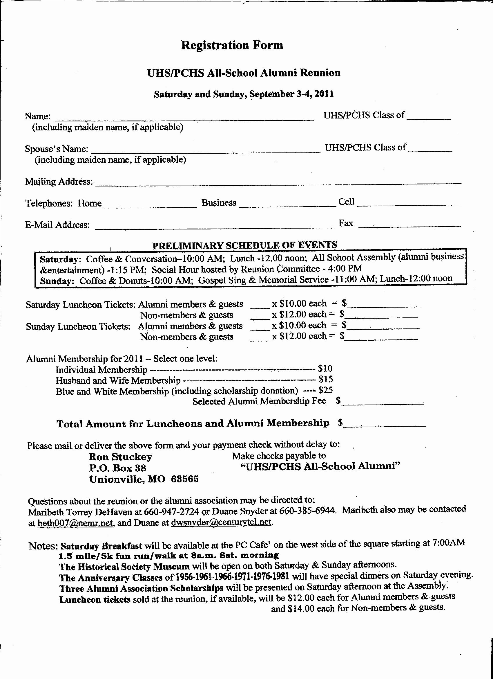 Class Reunion Registration form Template New Printable Family Reunion Templates – Ezzy