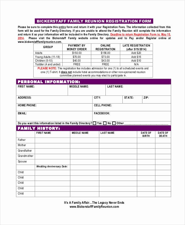 Class Reunion Registration form Template Unique Registration form Template 9 Free Pdf Word Documents